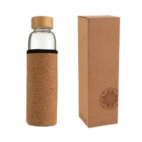 VS INDAUR water bottle made of borosilicate glass with cork sleeve