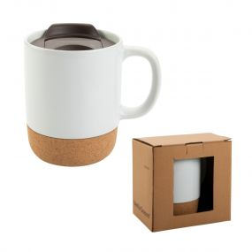 VS DABAHAN ceramic mug with a removable cork magnetic tray and a plastic lid